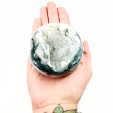 "Load image into Gallery viewer, Moss Agate Sphere 2.75"" 70mm 14oz 390g - Elevated Metaphysical"