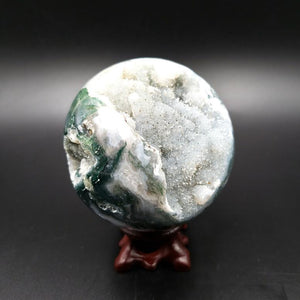 "Moss Agate Sphere 2.75"" 70mm 14oz 390g - Elevated Metaphysical"