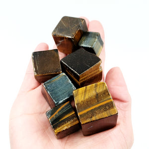 Tiger Eye Cube Tumbled Stone - Elevated Metaphysical