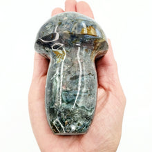"Load image into Gallery viewer, Moss Agate Mushroom Figurine Carving 100mm 4"" - Elevated Metaphysical"
