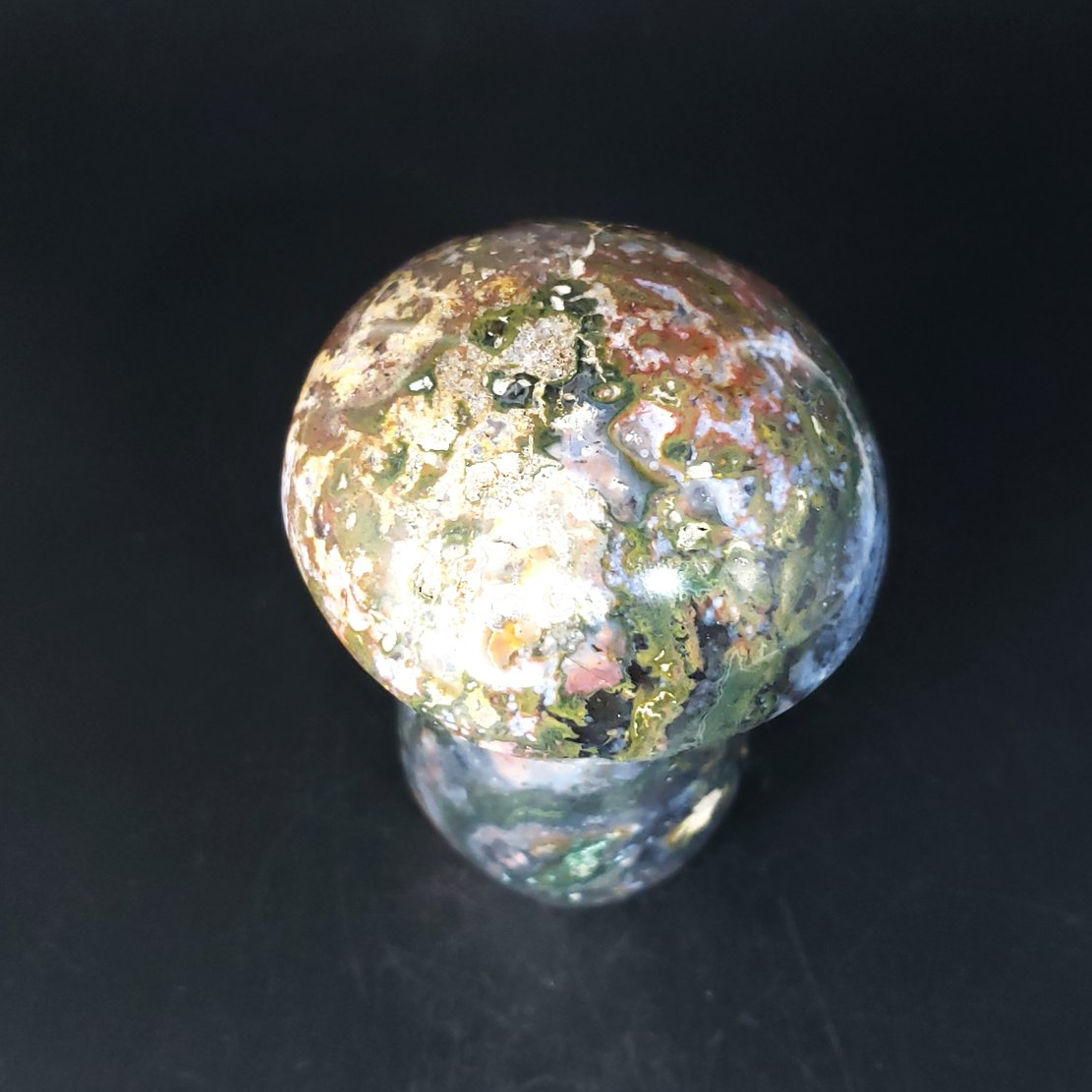 "Moss Agate Mushroom Figurine Carving 100mm 4"" - Elevated Metaphysical"