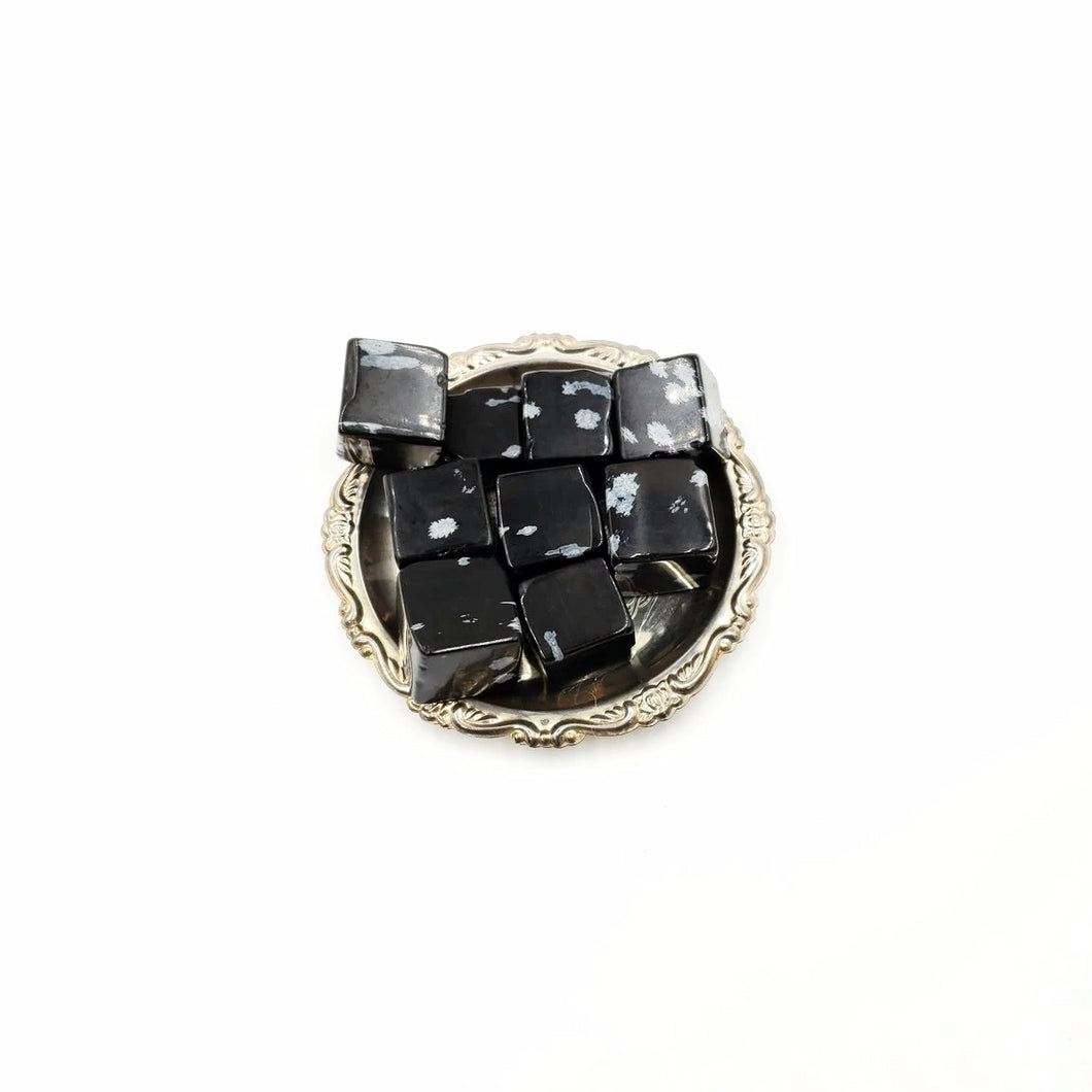 Snowflake Obsidian Cube Tumbled Stone - Elevated Metaphysical