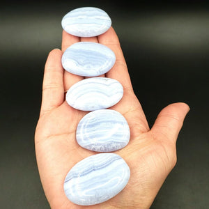 Blue Lace Agate Palm Stone
