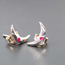 Load image into Gallery viewer, Ruby Moon Earrings Sterling Silver Stud