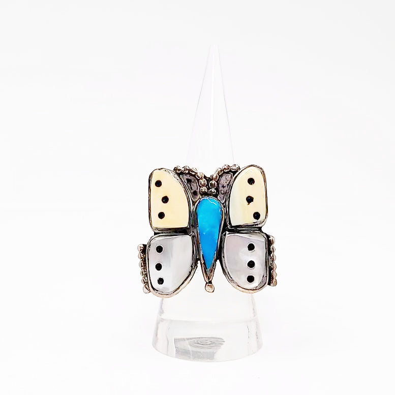 Butterfly Inlaid Ring Sterling Silver Native American - Elevated Metaphysical