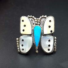 Load image into Gallery viewer, Butterfly Inlaid Ring Sterling Silver Native American - Elevated Metaphysical