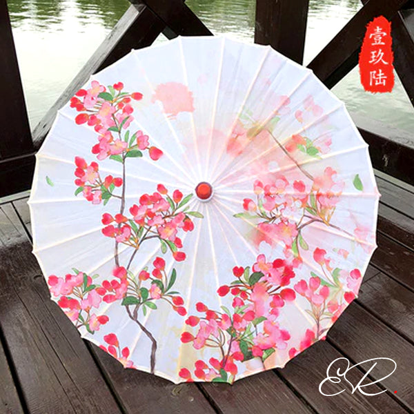 Ombrelle chinoise blanche et rose fleurs