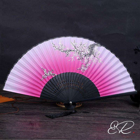 eventail chinois rose et blanc