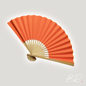 eventail orange en papier hanfan orange abanico