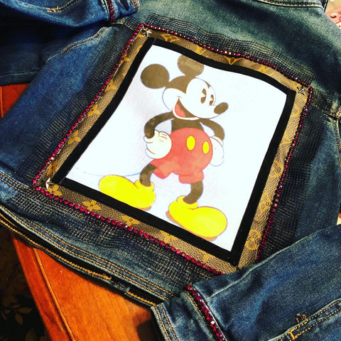 Authentic Repurposed Louis Vuitton Jacket, Mickey Mouse Vintage Louis Vuitton Jacket, Recycled Designer Sustainable LV Jacket
