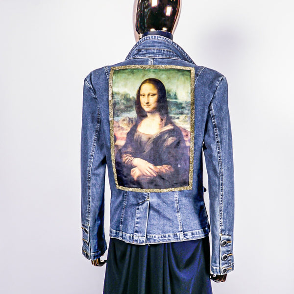Reclaimed Denim Jacket with Custom Jeweled Frame Mona Lisa Print