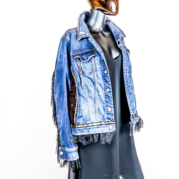Reclaimed Denim Jacket with Custom Keanu Reeves Print