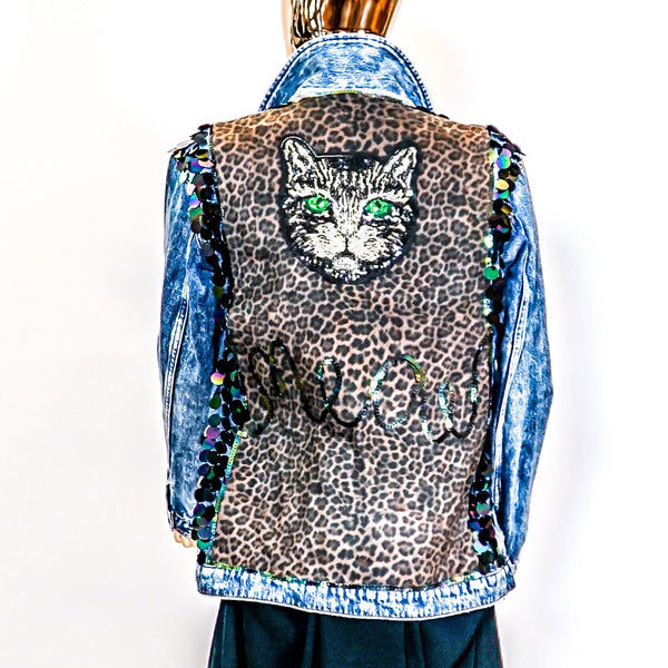 Reclaimed Hudson Jeans Denim Jacket with Cat Motif