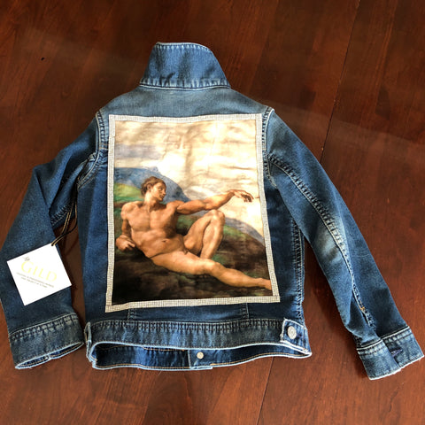 Breath of Life Toddler Jacket, Embellished Art Kids Jacket, Religious Art Jacket, Reclaimed Denim, Embellished Denim, Velvet Jacket