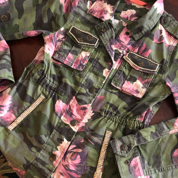 Repurposed Louis Vuitton Camo Flower Jacket, Louis Vuitton Kids Jacket, LV Love Crystal Floral Army Jacket, Crystal Louis Vuitton, Baby Gift
