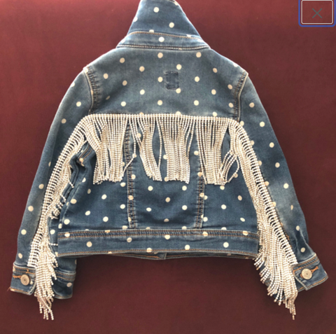 Crystal Fringe Jean Jacket, Fringe Polka Dot Jacket, Mommy and Me, Kids Clothes, Embellished Denim, Fringe Jacket, Country Rocker, The Gild