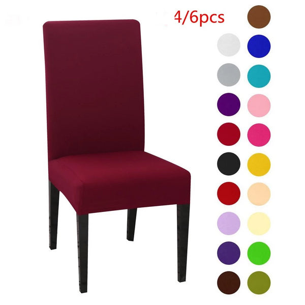 1/4/6pcs Solid Color Chair Cover Spandex Stretch Elastic Slipcovers Chair Covers For Dining Room Kitchen