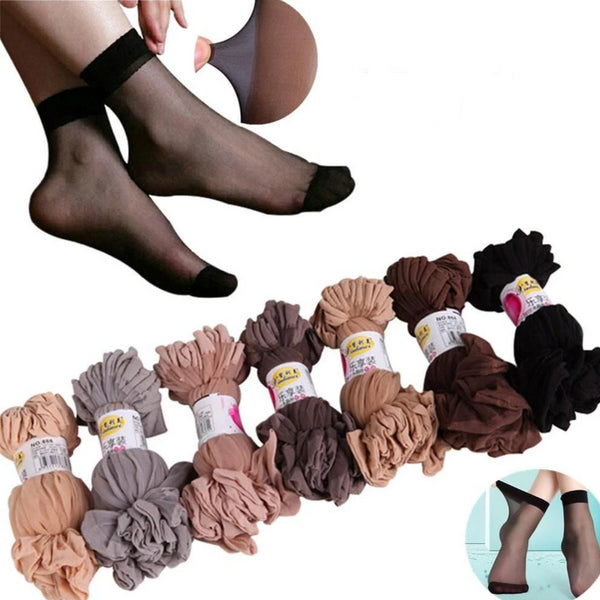 10 Pair Women's ankle high pantyhose  Ultra-thin Transparent Short Socks Crystal Socks