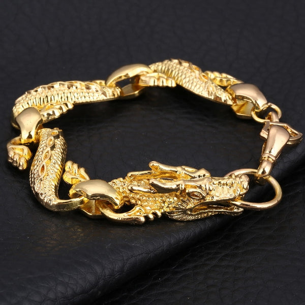 100% Gold Filled Dragon Bracelet Men Jewelry Stainless Steel Charm Bracelets Bangles Homme Link Chain Hook bijuteria Male