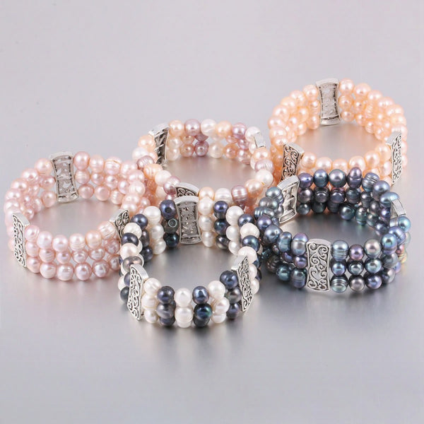 100% Natural Freshwater 8-9 mm Pearl Bracelets for Women as Jewelry Gift Multi Color 3 Layers Bangles
