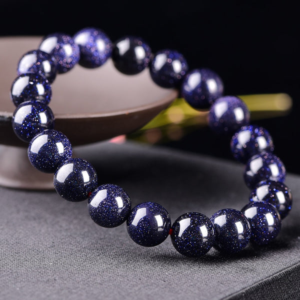 10mm Natural Material Energy Stones Blue Aventurine Bracelets Round Beads Women / Men Crystal Quartz Jewelry