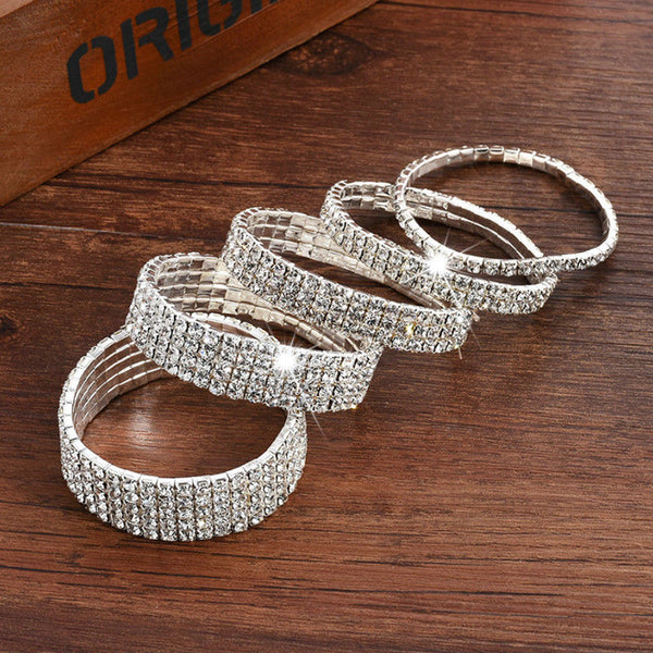 1pc Hot  Silver  Bracelet Rhinestone Women Shine Crystal Bridal 1/2/3/4/5/6Row Bangle Delicate Wedding Simple   Jwelry Gift