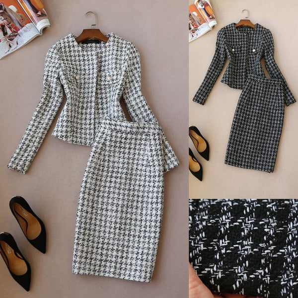 2 piece set women autumn and winter  long-sleeved  tweed jacket  and woolen skirt suit