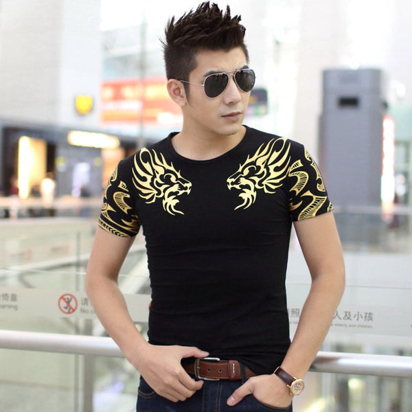 2017 Autumn new men's brand t-shirt fashion Slim Dragon printing atmosphere t shirt Plus size short-sleeved t shirt men TX141-R