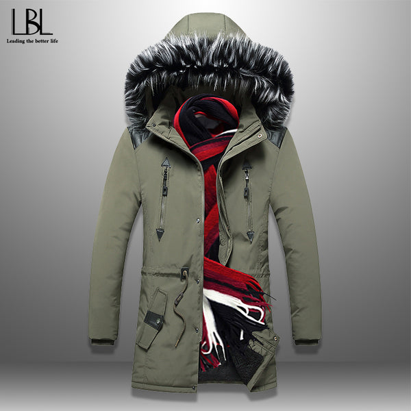 Men's Parkas Winter Long Jacket Men Thick Coat Cotton-Padded Jackets Solid Warm Overcoats Fur Collar Hooded 3XL