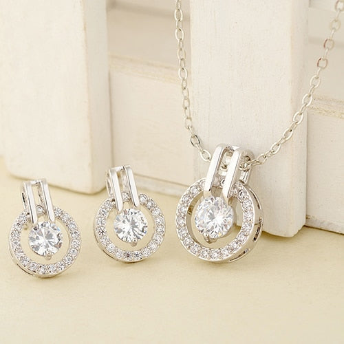 2020 New Arrival Women's CZ Round Pendant  Chain Necklace, Earrings  luxury Jewelry Set