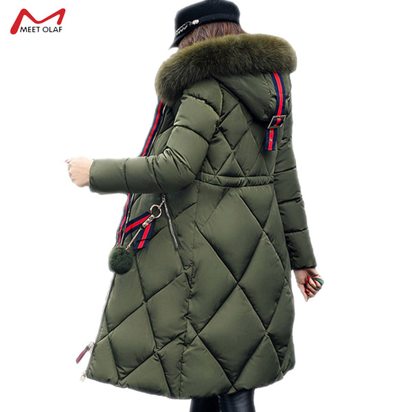 2109 Women's Winter  Long Cotton-padded Coat Stitching Slim Thicken Warm Coat Heavy Fur Collar Parka Female Down Jacket CA3270