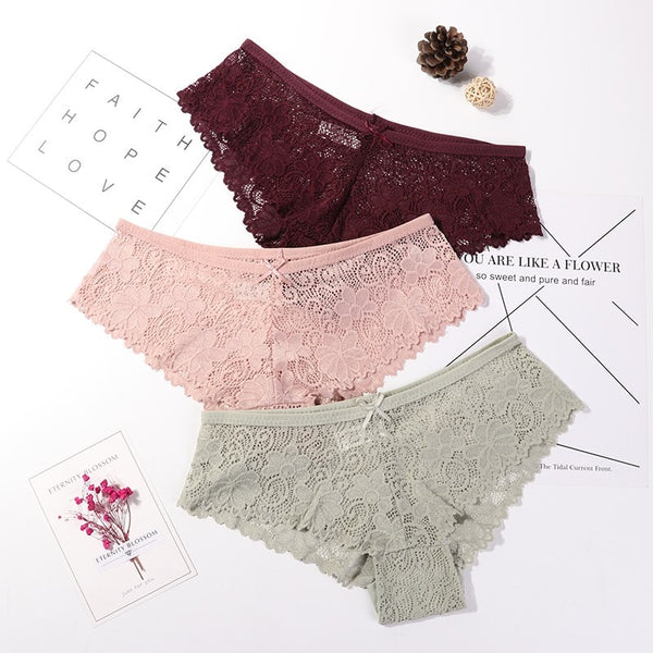 3 Pcs Panties For Woman Underwear Sexy Lace Breathable Female Panty Transparent Briefs Sexy Underwear Women M-XXL