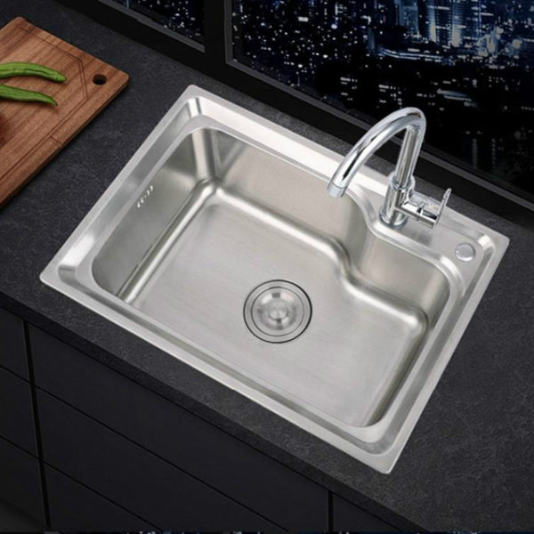 stainless steel sink single sink kitchen sink sink single basin thickened sink large single slot set WF907250