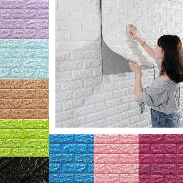 3D Wall Stickers Imitation Brick Bedroom Decor Waterproof Self-adhesive Wallpaper For Living Room Kitchen TV Backdrop Decor