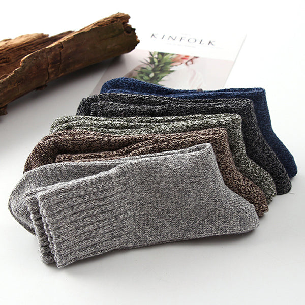 5 Pairs Casual Mens Soft Thick Warm Socks Rabbit Wool Blends Warm Winter Socks Wool Retro Style Colorful Mans Socks Breathable
