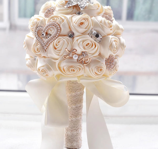 8 Colors Gorgeous Wedding Flowers Bridal Bouquets Artificial Wedding Bouquet Crystal Sparkle With Pearls 2019 buque de noiva