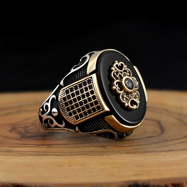 925 Silver Ring for Men with Black Onyx And Zircon Stone