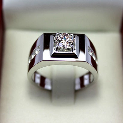 925 Men's Sterling Silver Ring With Rhinestones