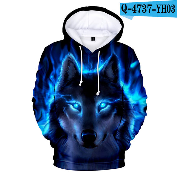 Adult Hoodies Wolf Sweatshirts Skull Clothing Men's High Quality Brand 3D