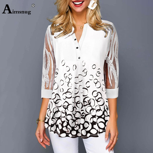 Aimsnug Women's V-neck Top 4 3/4 Sleeve Single-Breasted Splice Lace Blouse With Print