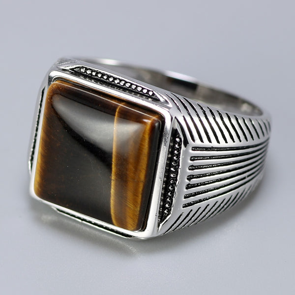 Authentic Men's Sterling Silver 925  Ring With Tiger Eyes Fine Jewelry Stripe Pattern Natural Stone