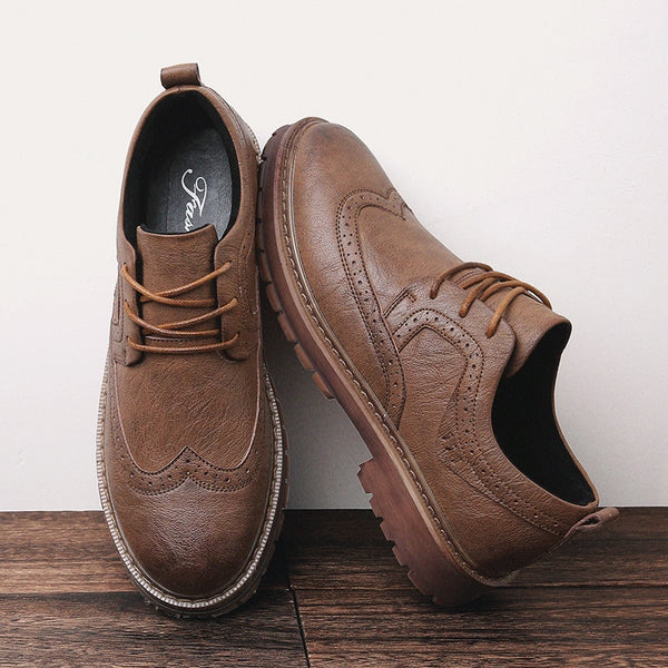Men's Martens Shoes Brogue Casual  Genuine Leather Shoes Work Business Casual