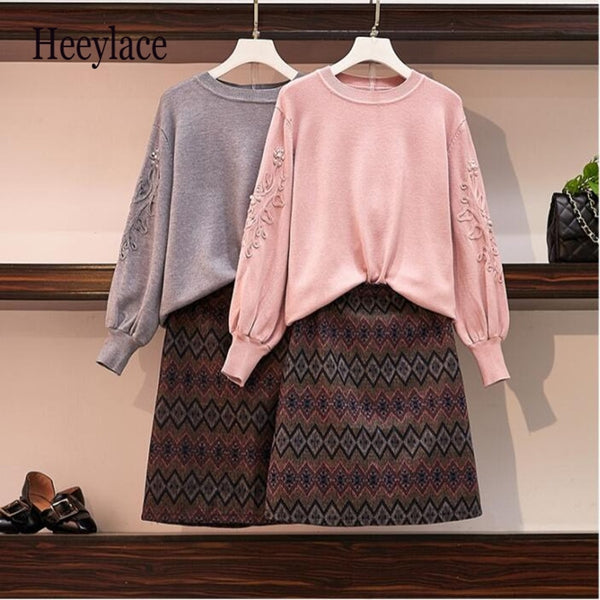 Women's Sweater and Skirt Set Fashion Embroidery Beading Lantern Sleeve Knitted Pullover Tops 2 Piece Tweed Geometric Skirt Set