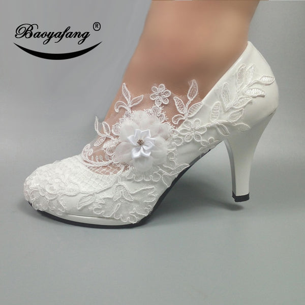 BaoYaFang White Flower Pumps New arrival womens wedding shoes Bride High heels