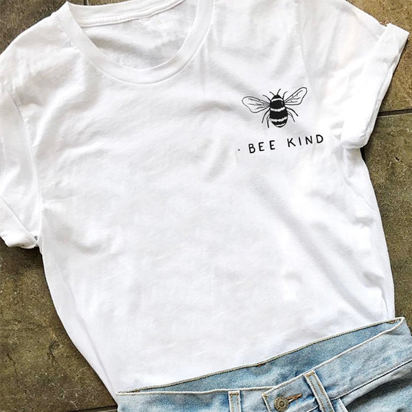 Bee Kind Pocket Print Tshirt Women Save The Bees Graphic Tees Girls Summer Tumblr Outfit Fashion Top