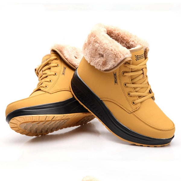 Boots Women Lace Up Casual Plus Velvet Cotton Shoes Thick Bottom Non-slip Chic Students PU Leather Flat Ankle Womens Winter Warm