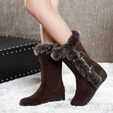Women Casual Warm Fur Mid-Calf Boots Slip-On Round Toe flats Snow Boots shoes Muje Plus size 35-42
