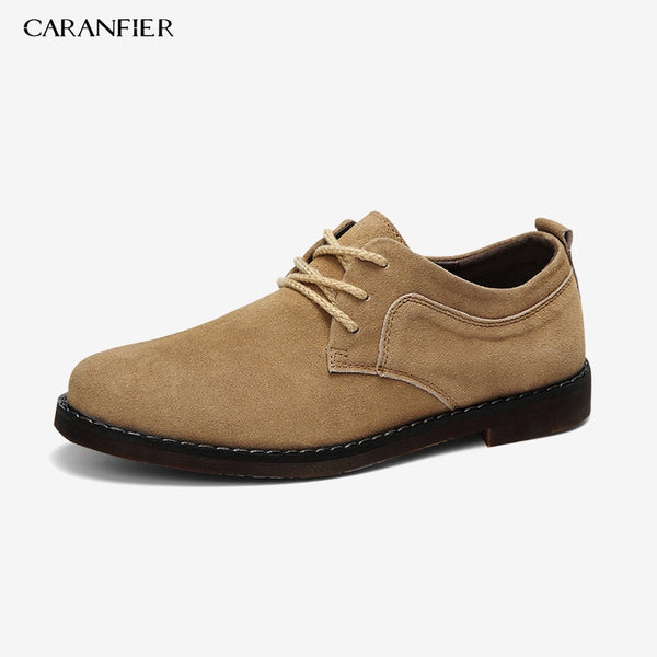 CARANFIER Brand Cow Suede Men Casual Leather Shoes Oxfords Suede Leather Men's Flats Spring Autumn Fashion Classic Shoes 43 44