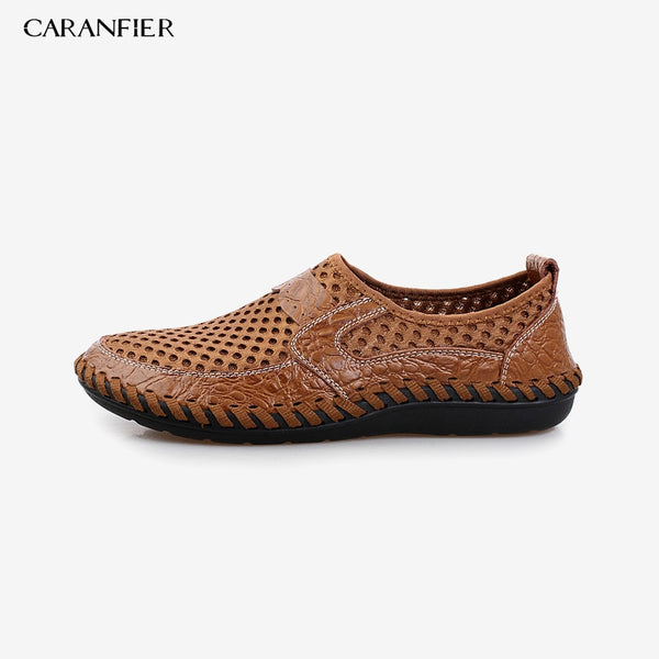 CARANFIER Genuine Leather Summer Shoes Men Flats Loafers Breathable Casual Homme Real Leather Driver Men Moccasins Shoes