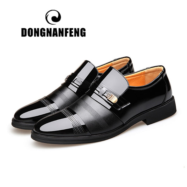 DONGNANFENG Men's Male Casual Business British Genuine Leather Work Slip On Spring Autumn Footwear Handmade Size 38-44 GR-9603